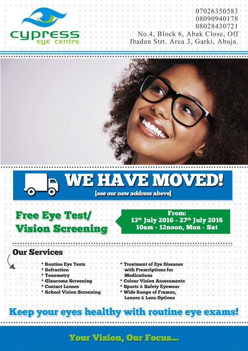 9bbfe4408d7 Cypress Eye Center is offering free eye checkup from 13th - 27th  July...Check it out