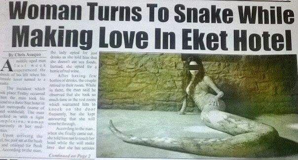 Woman Turns Into Snake During S€x With Lover In Eket Hotel, Akwa Ibom