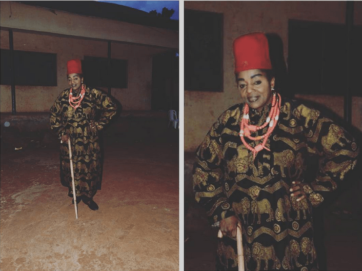 Rita Edochie Dresses Like A Male Chief On Movie Set (Photos)