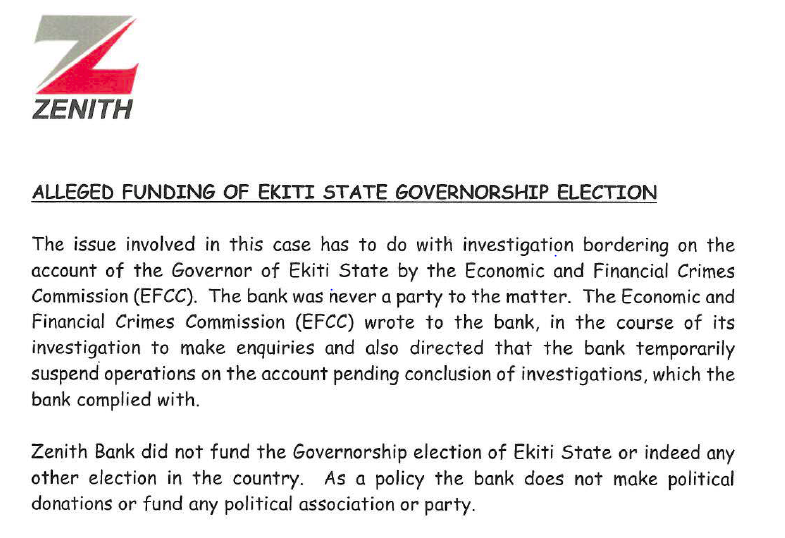Zenith Bank Issues Press Release, Denies Funding Fayose's Election And managing Ekiti State Government Account 2
