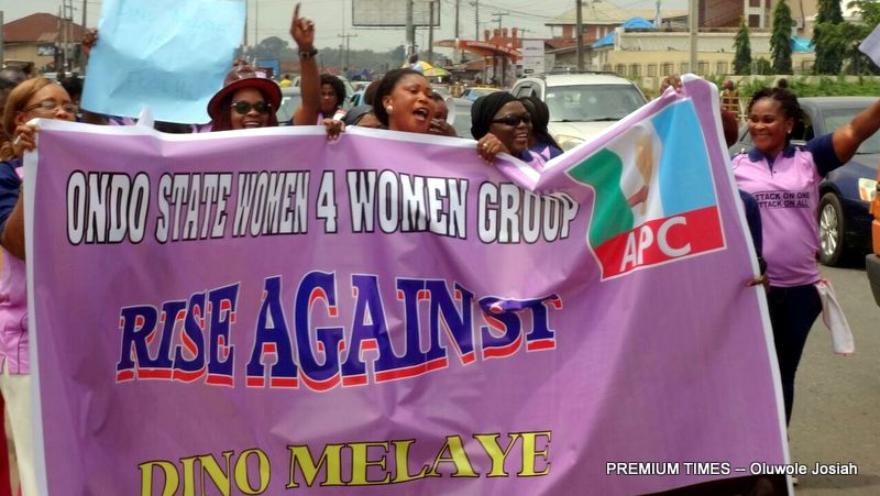 Women Protest In Ondo Over Dino Melaye's Attack On Remi Tinubu (See Photo)