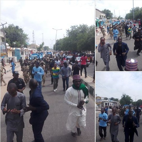 Recruited Civilian JTF Soldiers Shows off by Parading Borno Streets.