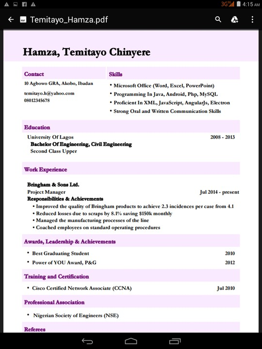 Latest CV format in Nigeria 2017