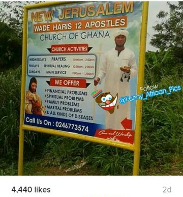 Hilarious Sign Board Of A Church In Ghana where they offer problems