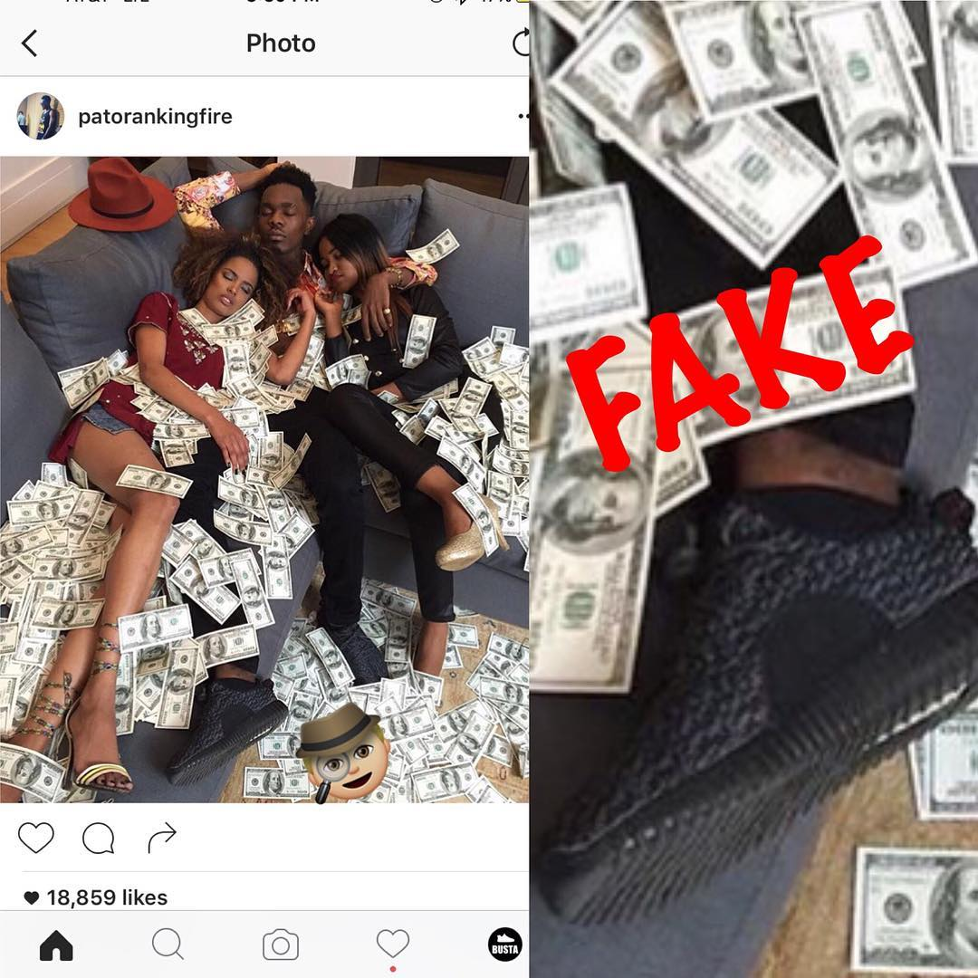 4c758436fc2b2 Patoranking Busted For Wearing Fake Yezzy By US Page  Yeezy Busta ...