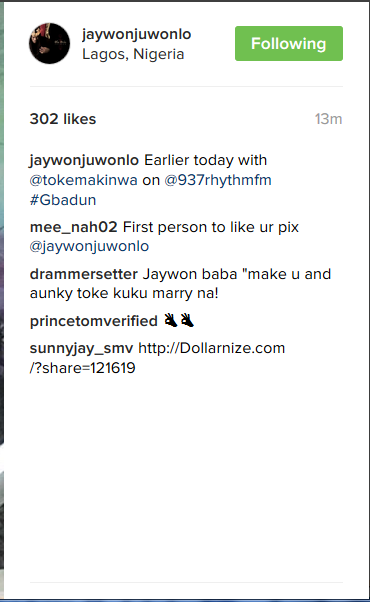"""Make You & Aunty Toke Kuku Marry Na"": Fan Tells Jaywon As He Poses With Toke Makinwa"