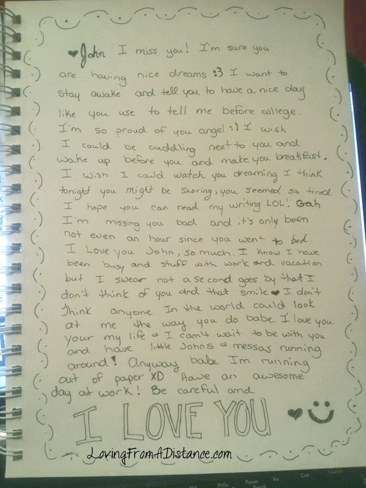 writing a letter to long distance girlfriend