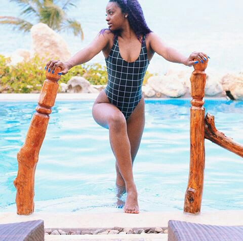 Wizkid's New Babe, Justine Skye, Flaunts Sexy Body In Swimsuit (See Photo)