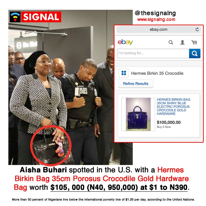 """Aisha Buhari Spotted In The US With A N40m Crocodile Hermes Bag"" (Photos)"