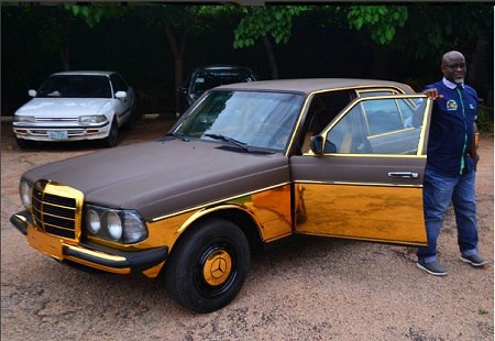 Gold Customized 1982 Mercedes Benz Spotted In Kaduna (Photos)