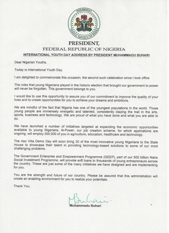 International Youth Day: President Buhari's Message To Nigerian Youths (Pictured)