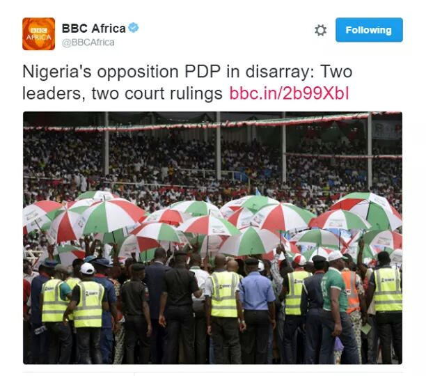 Latest News In Nigeria: BBC Describes Current PDP Crisis In Nigeria(photo