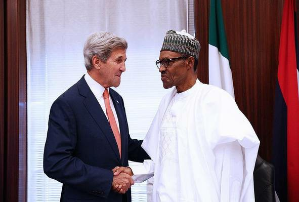 President Buhari Receives US Secretary Of State, John Kerry In Aso Villa (Pics)