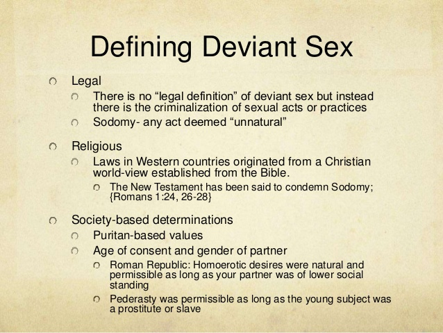 Examples Of Sexual Deviance