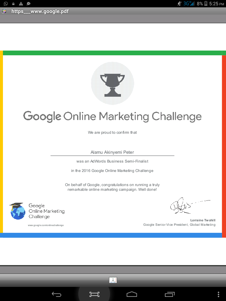 I Got My Google Marketing Certificate Adwords Business Semi Finalist