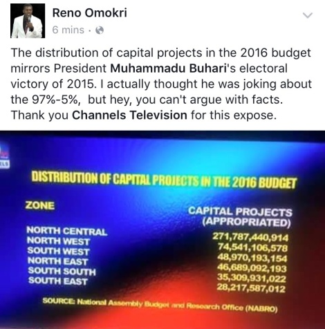 Omokri Reacts To The Distribution Of Capital Projects In The 2016 Budget