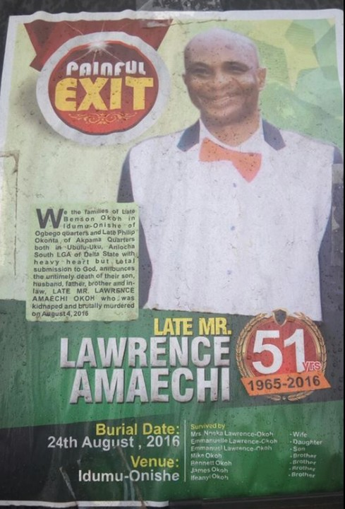 See Obituary Poster Of The Man Who Was Killed By His Business Partner In Delta (Photos)