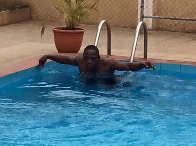 Swimming Pool Action : Sports minister in action solomon dalung pictured swimming