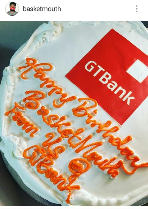 Gt Bank Presents A Birthday Cake To Comedian Basket Mouth