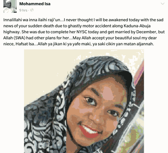 HEARTBREAKING DETAILS OF HOW A FEMALE CORPER DIED FEW MONTHS TO HER WEDDING