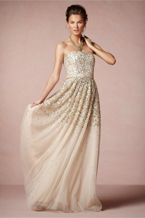 Gold Champagne Bridesmaids Dresses