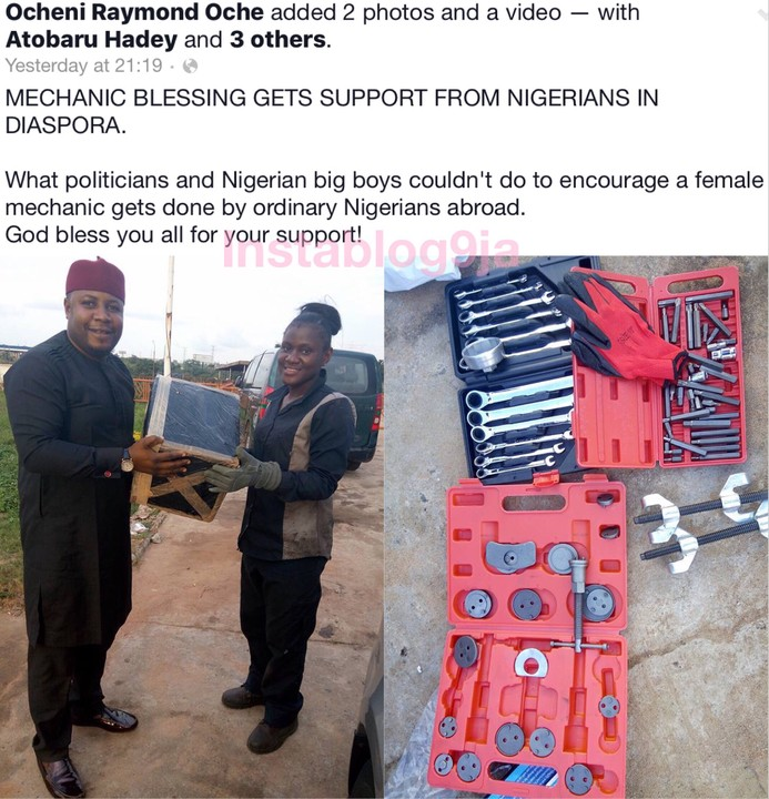 SEE HOW NIGERIANS IN DIASPORA BLESSED ABUJA FEMALE MECHANIC ABUJA WITH GIFTS (PHOTOS)