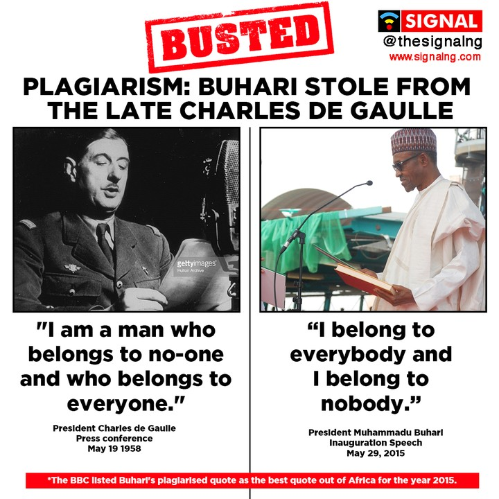 "BOMBSHELL!!! BUHARI NOT ONLY PLAGIARIZED OBAMA'S SPEECH BUT ALSO CHARLES DE GAULLE'S QUOTE: ""I BELONG TO NOBODY"""