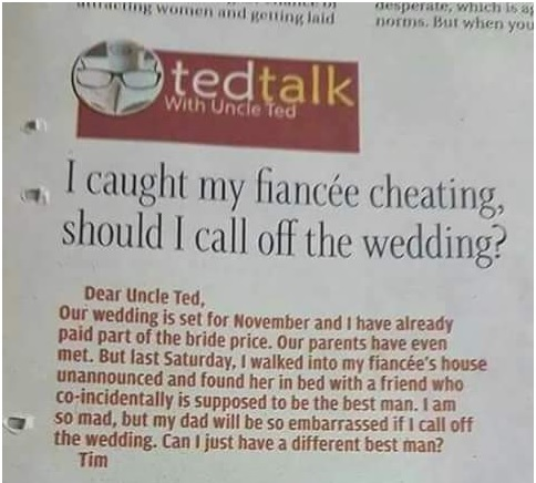 Man Asked Whether To Call Off Wedding After Fiancee Cheated. He