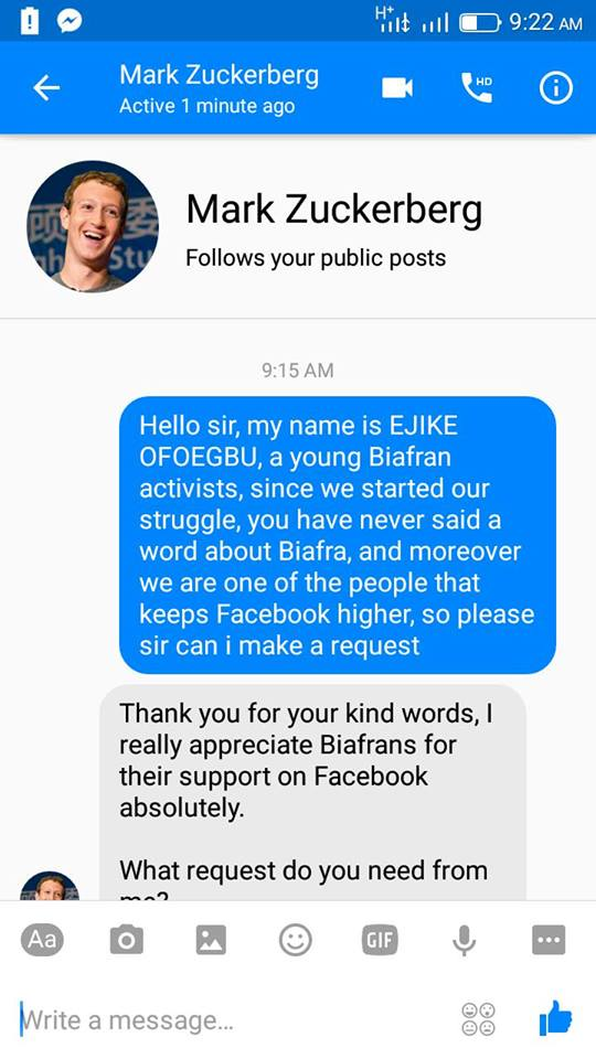 Biafra: Facebook's Zuckerberg Chats With A Pro-Biafran