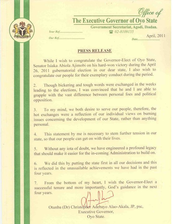 Governor alao akalas press release after election politics nigeria thecheapjerseys