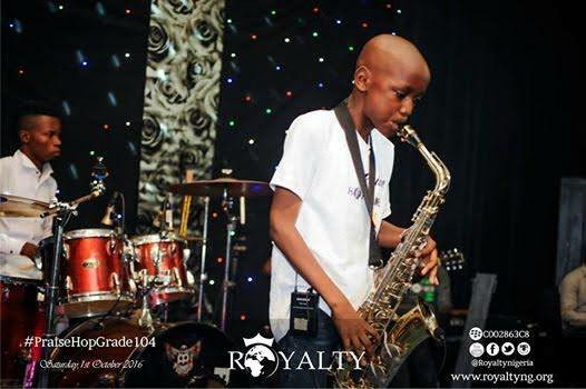 Image result for 2Baba's Son, Nino Idibia, Shows Off His Trumpet Playing Skills At A Church Event. (Photos)