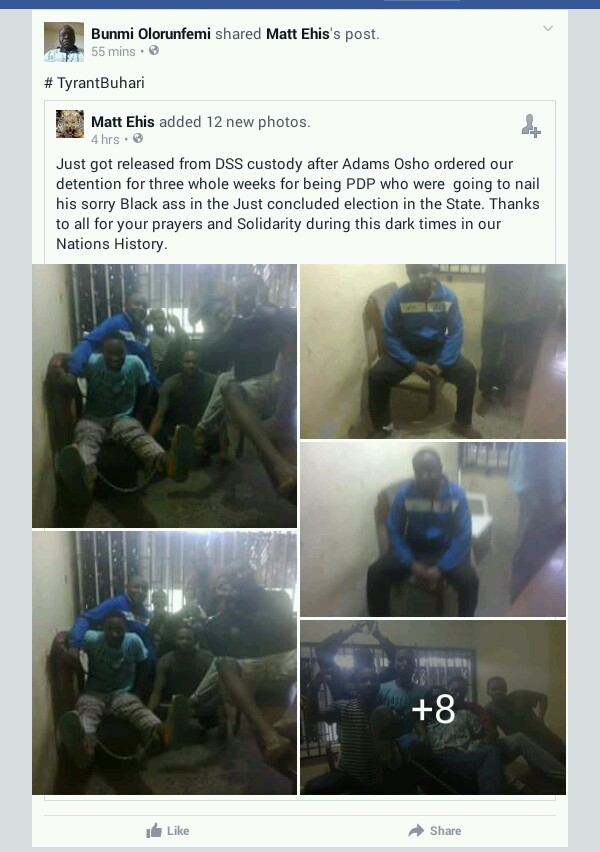 4341371 20161011061336 jpeg9f3b5048d881087f1c80a4753f1de308 - PDP Youths Arrested & Detained By DSS Before Edo Election Released (Pics)
