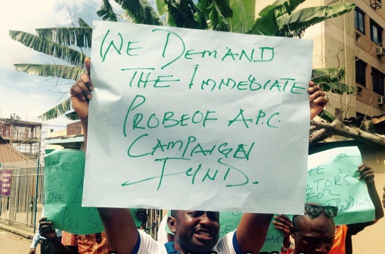 """4347039_4_jpeg9679ccb5a92f650b83fcf29e0a6a6775 """"Arrest Patience Jonathan Now"""": Protesters Storm EFCC Office In Lagos (Pics)"""