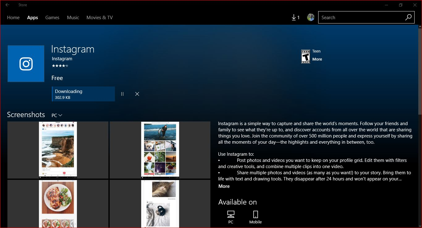 instagram app download for windows 10 pc