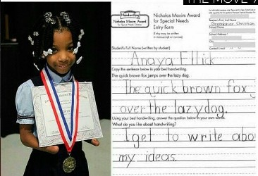 Image result for the girl who won a handwriting competition without hands