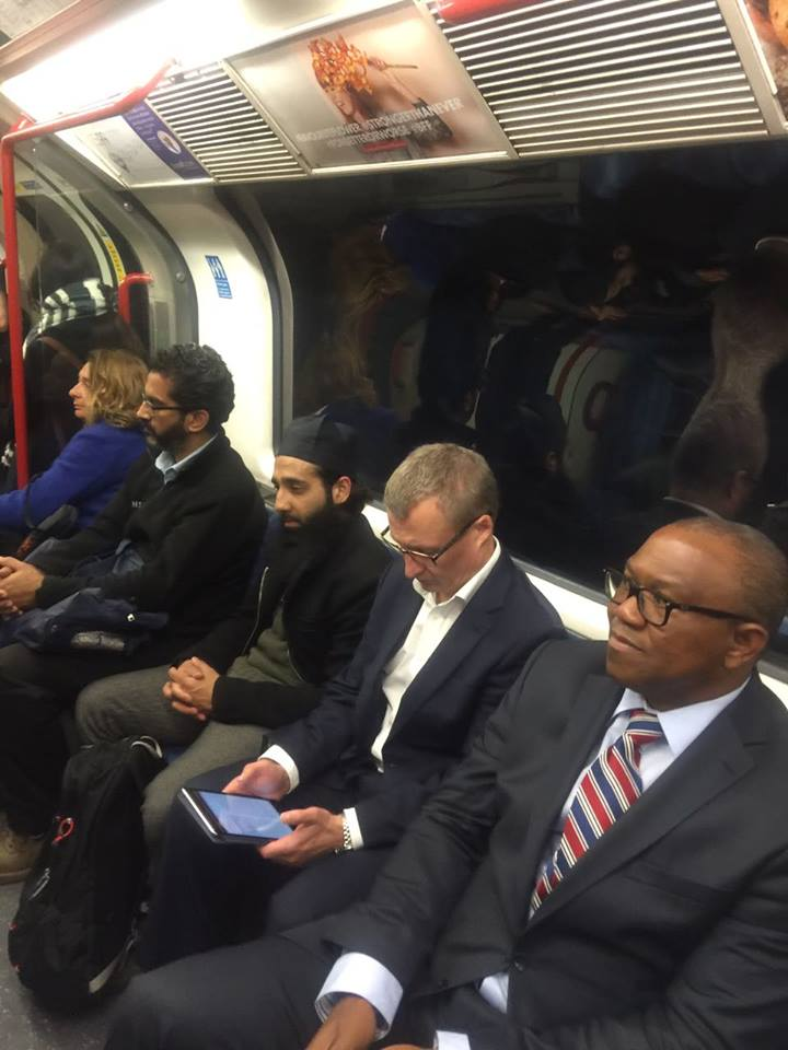Nigerian Man Shocked After Seeing Ex-Governor Peter Obi On A Train In The UK (Pics)