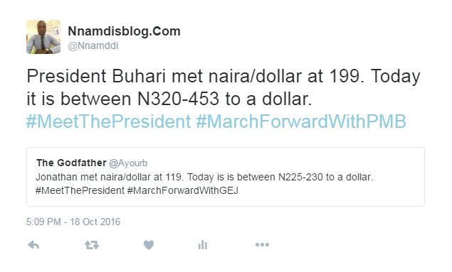 Source Http Www Nnamdisblog 2016 10 Comparing Naira To Dollar Exchange Rates Under Gej And President Buhari Html