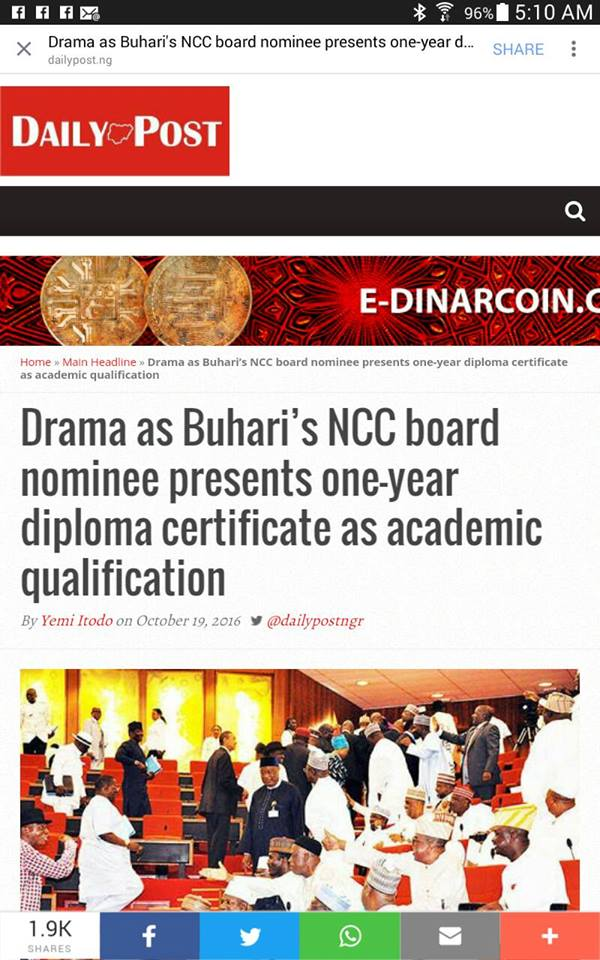 Drama As Buhari's NCC Board Nominee Presents One-Year Diploma Certificate