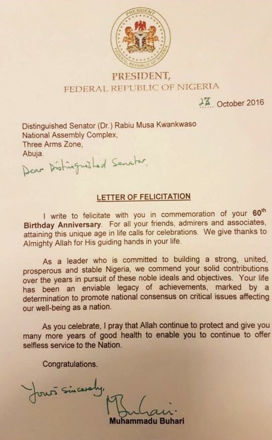 Buharis letter to kwankwaso on his 60th birthday politics nigeria thecheapjerseys Images