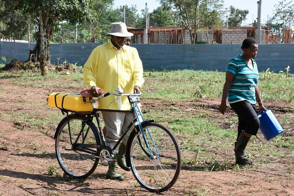 President Museveni Fetches Water On A Bicycle. Photos ...