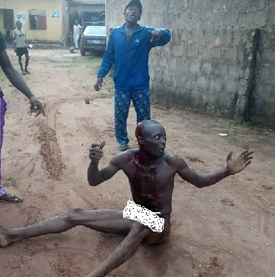 Man Who Stole Aluminium In Imo Stripped Unclad, Nearly Beaten To Death By Youths (Photos)