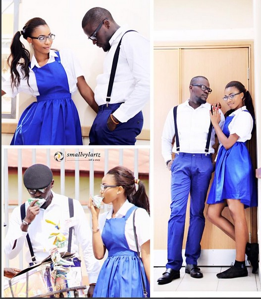 See This Pre-wedding Photos Of This Couple On School Uniform