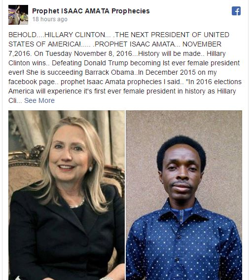 Zambian Prophet Predicts Who Will Win US Presidential Election (See Photos)