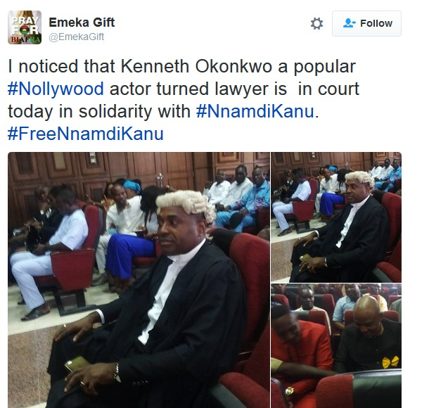 BIAFRA ALERT!!! NOLLYWOOD ACTOR KENNETH OKONKWO STORMS COURT FOR NNAMDI KANU'S TRIAL (PHOTOS )