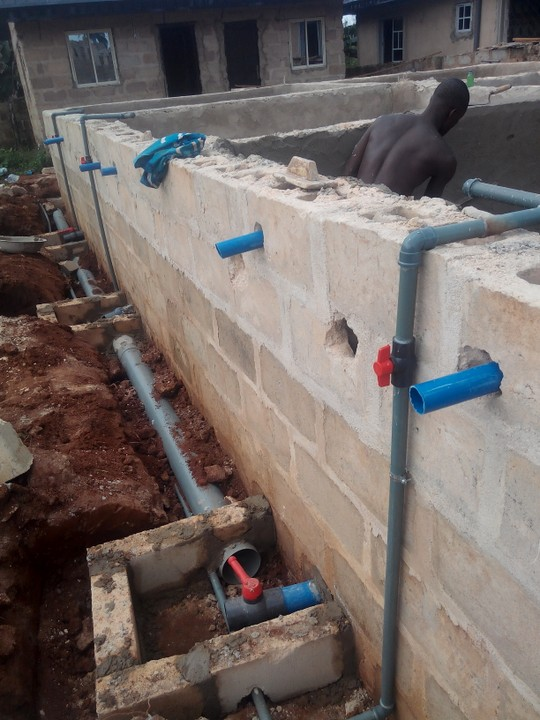 My fish pond construction project in benin city for Koi pond plumbing