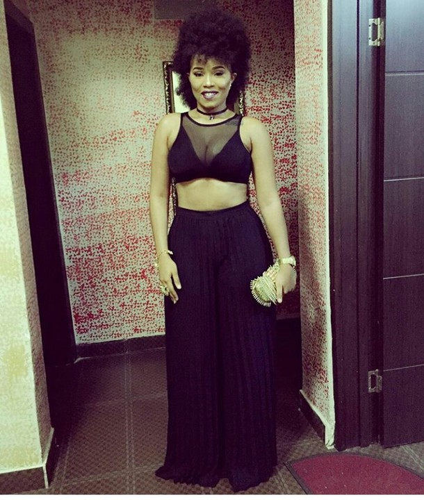 Actress Onyi Alex In Tummy & Cleavage-Baring Outfit To Ebube Nwagbo's Movie Premiere