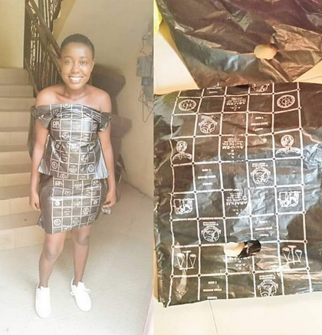 Girl Wears Dress Made With Poly Bag - Fashion