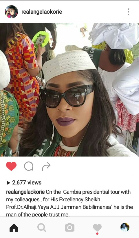 Actress Angela Okorie Insulted Over Her Presidential Trip To Gambia (Pics)