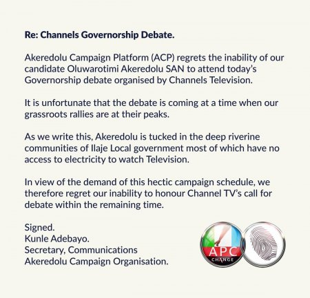 Image result for Akeredolu excuse for missing the Governorship debate