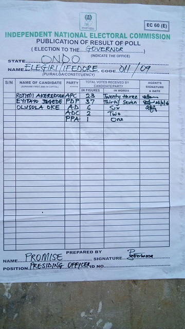 Updated: Ondo Governorship Election, More Results From Polling Units